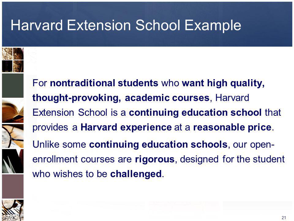 Harvard Extension School Example
