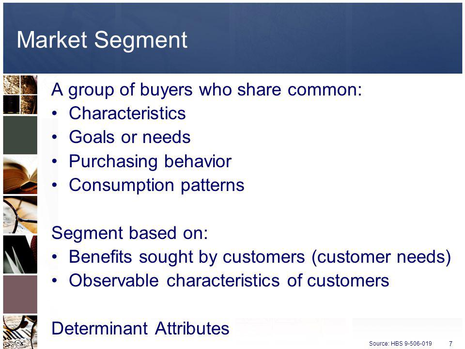 Market Segment A group of buyers who share common: Characteristics