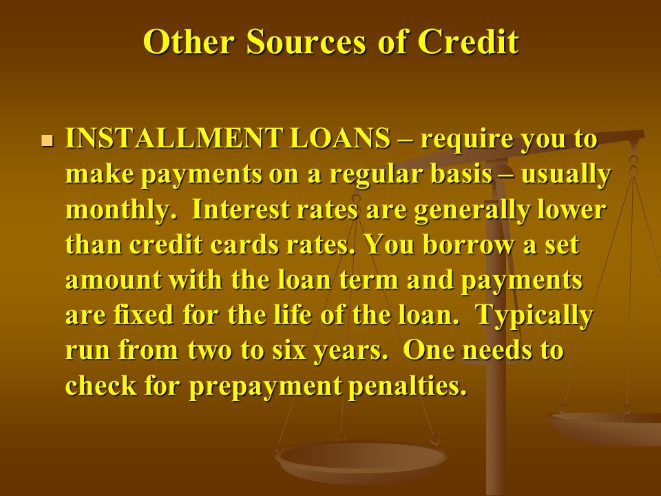 Other Sources of Credit