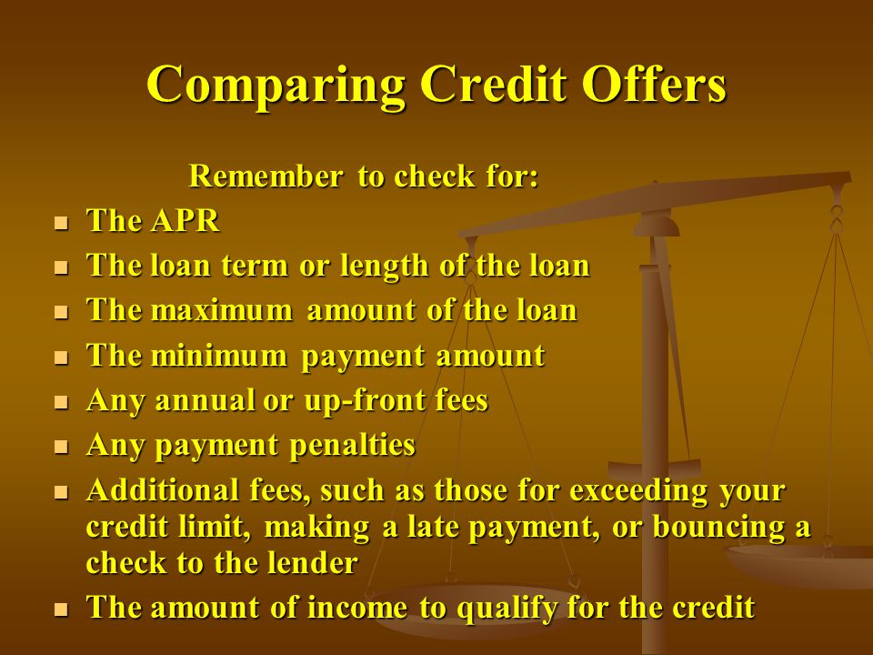 Comparing Credit Offers