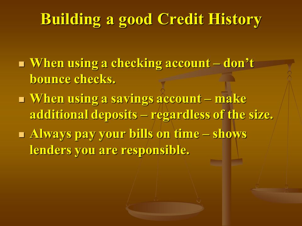 Building a good Credit History