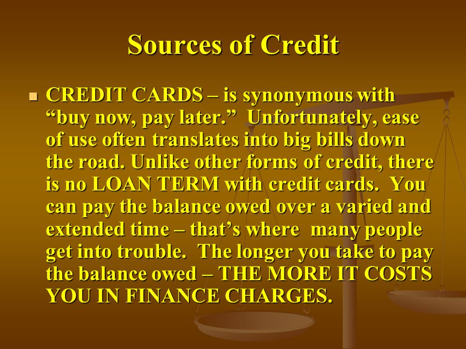 Sources of Credit
