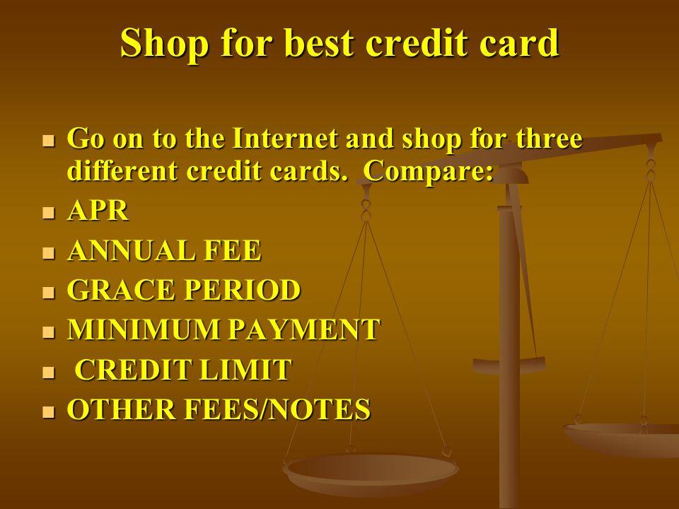 Shop for best credit card