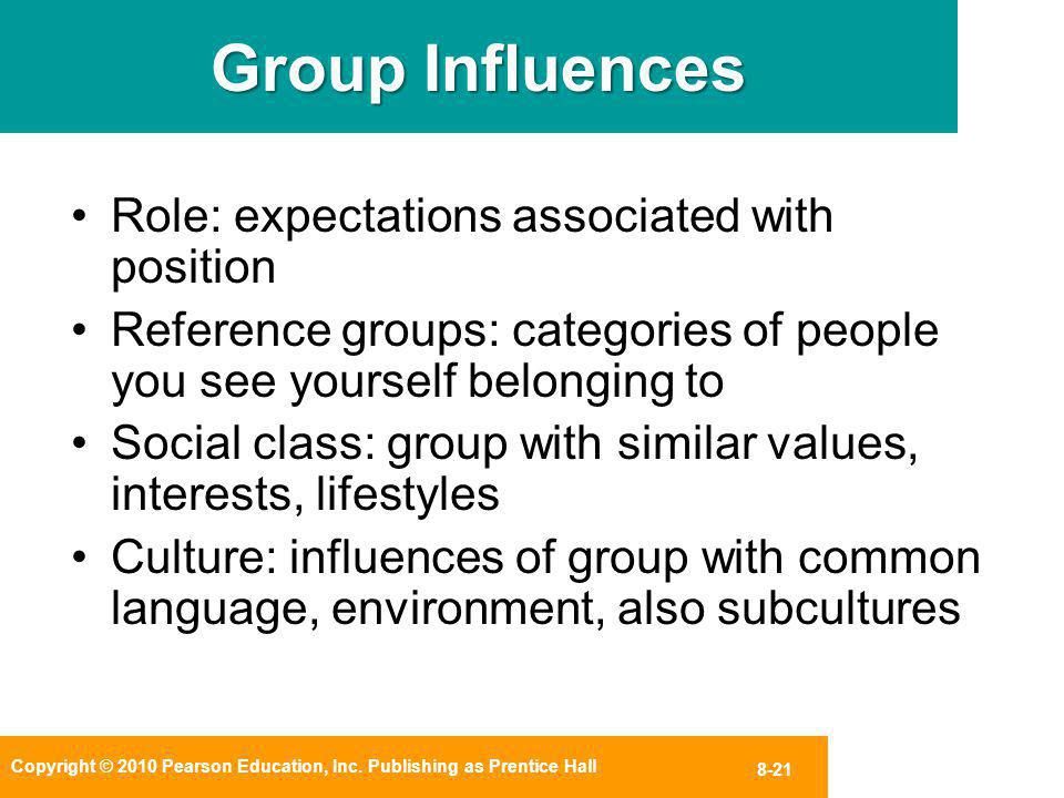 Group Influences Role: expectations associated with position