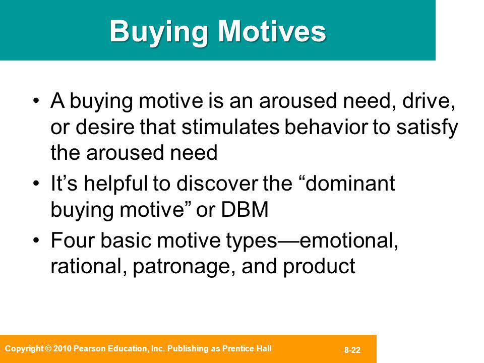 Buying Motives A buying motive is an aroused need, drive, or desire that stimulates behavior to satisfy the aroused need.