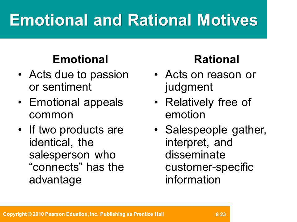 rational and emotional motives What is rational appeal a: quick answer what are rational buying motives a speaker using emotional appeal, however, would not rely on logic and would instead prey on the audience's feelings about the topic being discussed.