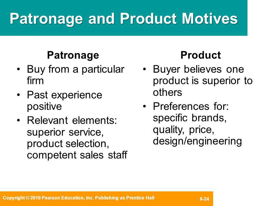 Patronage and Product Motives