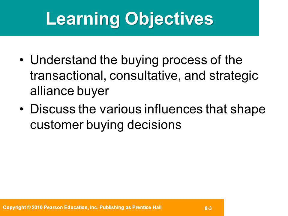 Learning Objectives Understand the buying process of the transactional, consultative, and strategic alliance buyer.