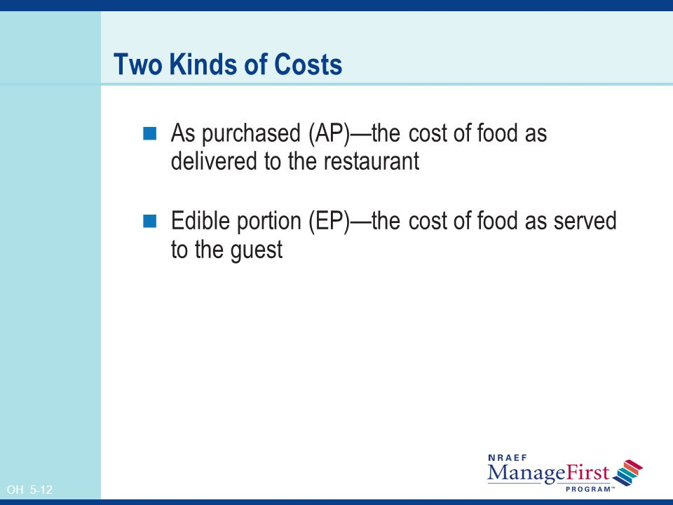 Two Kinds of Costs As purchased (AP)—the cost of food as delivered to the restaurant. Edible portion (EP)—the cost of food as served to the guest.