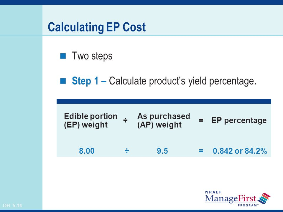 Calculating EP Cost Two steps
