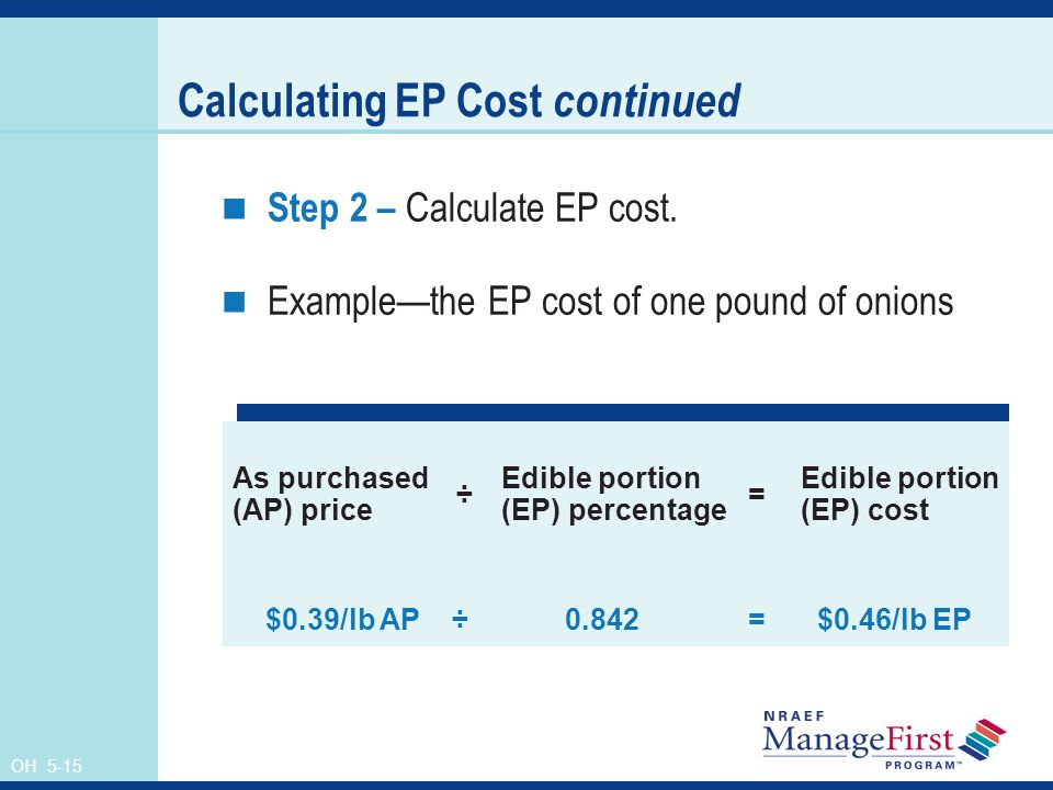 Calculating EP Cost continued
