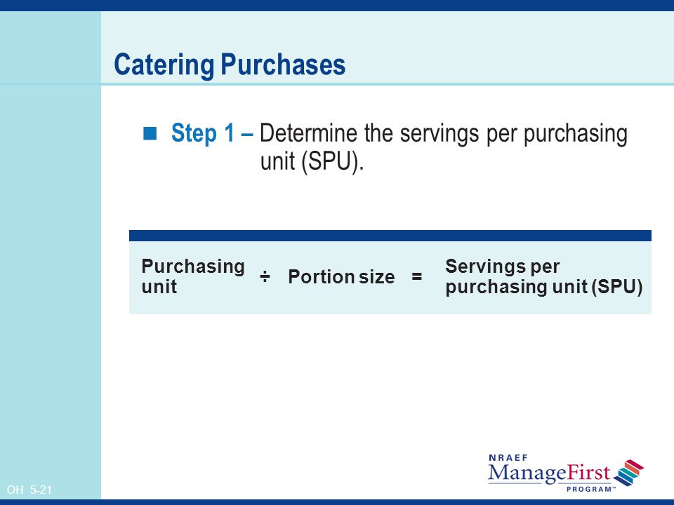 Catering Purchases Step 1 – Determine the servings per purchasing unit (SPU). Purchasing unit.