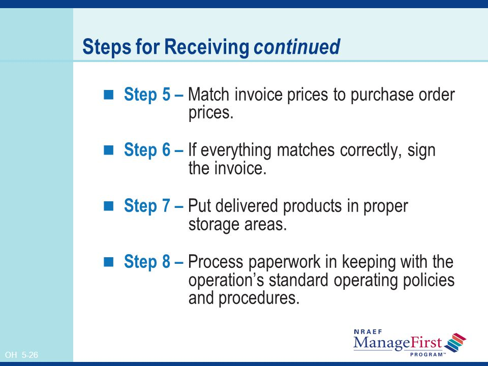 Steps for Receiving continued