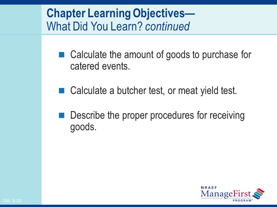 Chapter Learning Objectives— What Did You Learn continued