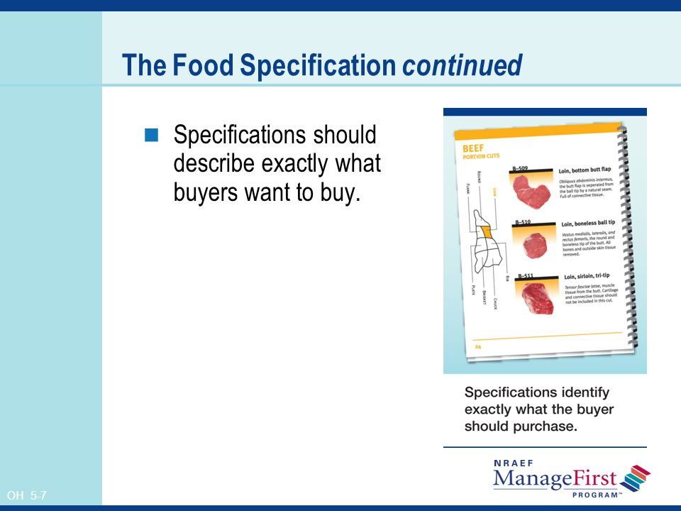The Food Specification continued