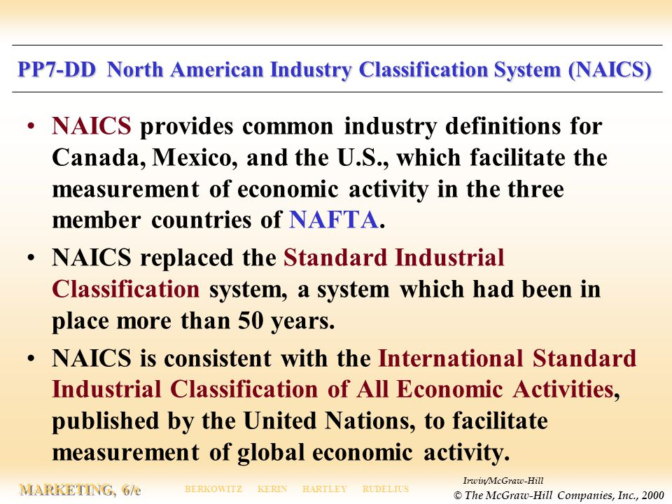 PP7-DD North American Industry Classification System (NAICS)