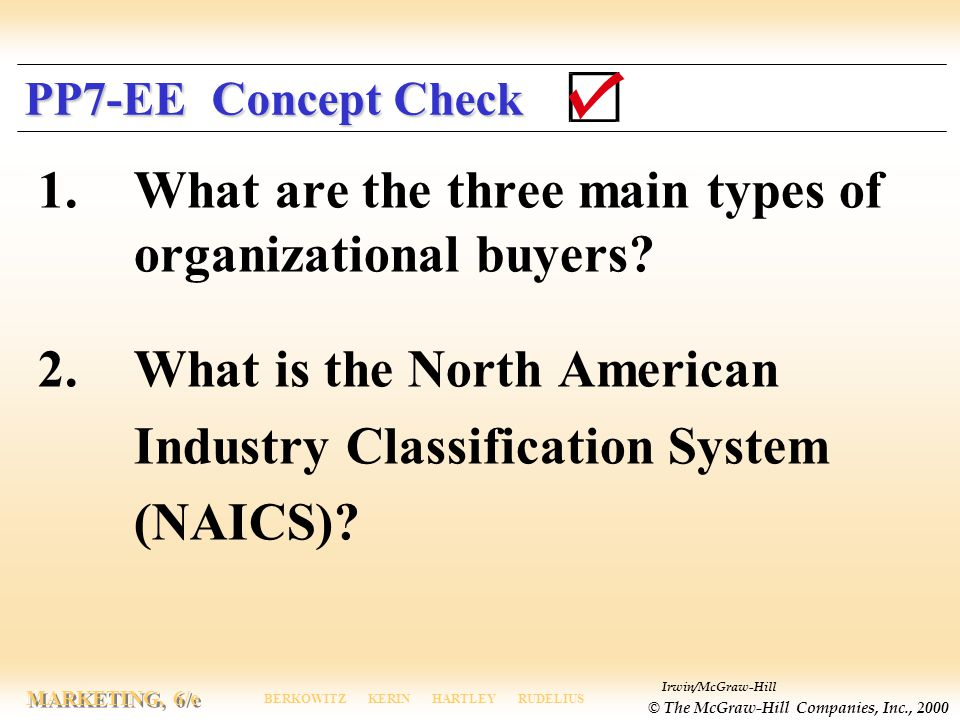 1. What are the three main types of organizational buyers