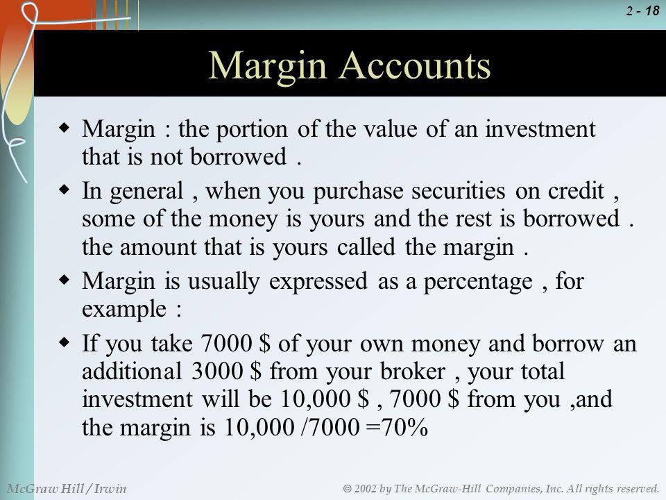 Margin Accounts Margin : the portion of the value of an investment that is not borrowed .