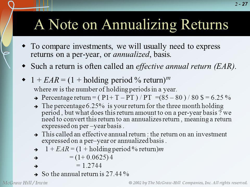 A Note on Annualizing Returns