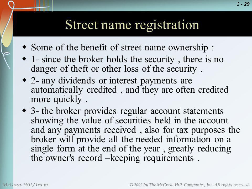 Street name registration