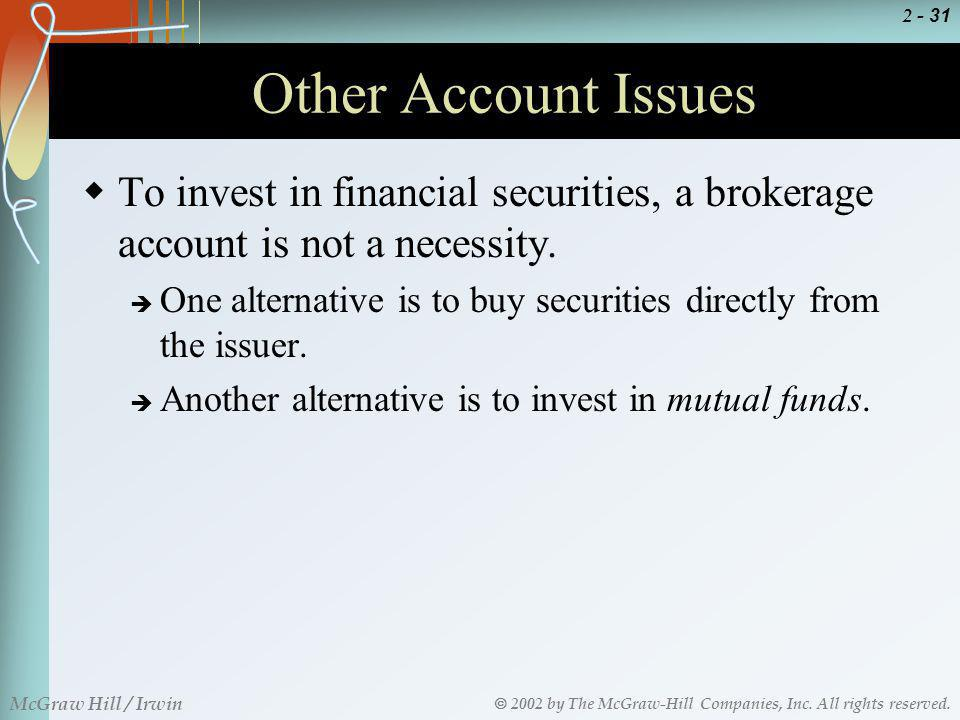 Other Account Issues To invest in financial securities, a brokerage account is not a necessity.