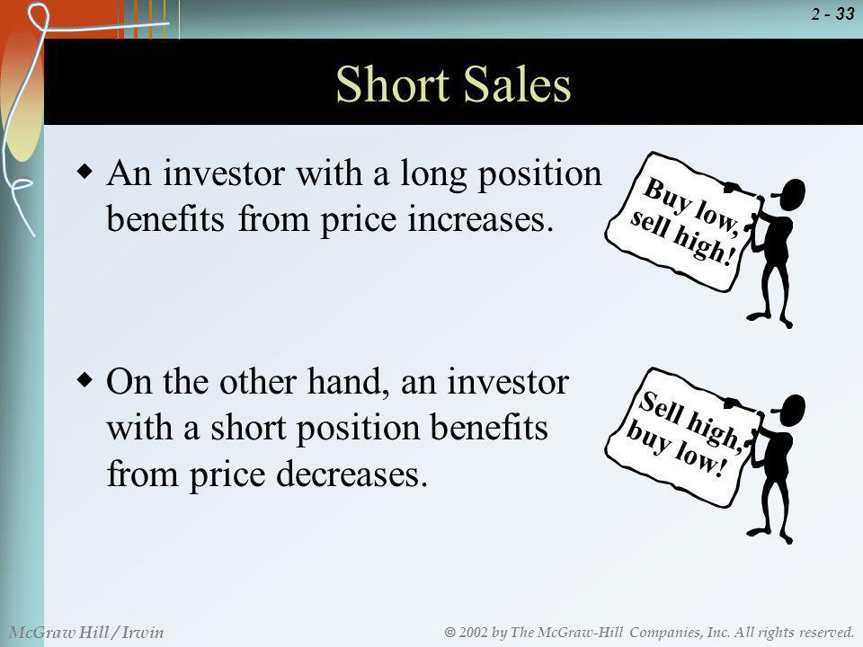 Short Sales An investor with a long position benefits from price increases. Buy low, sell high!