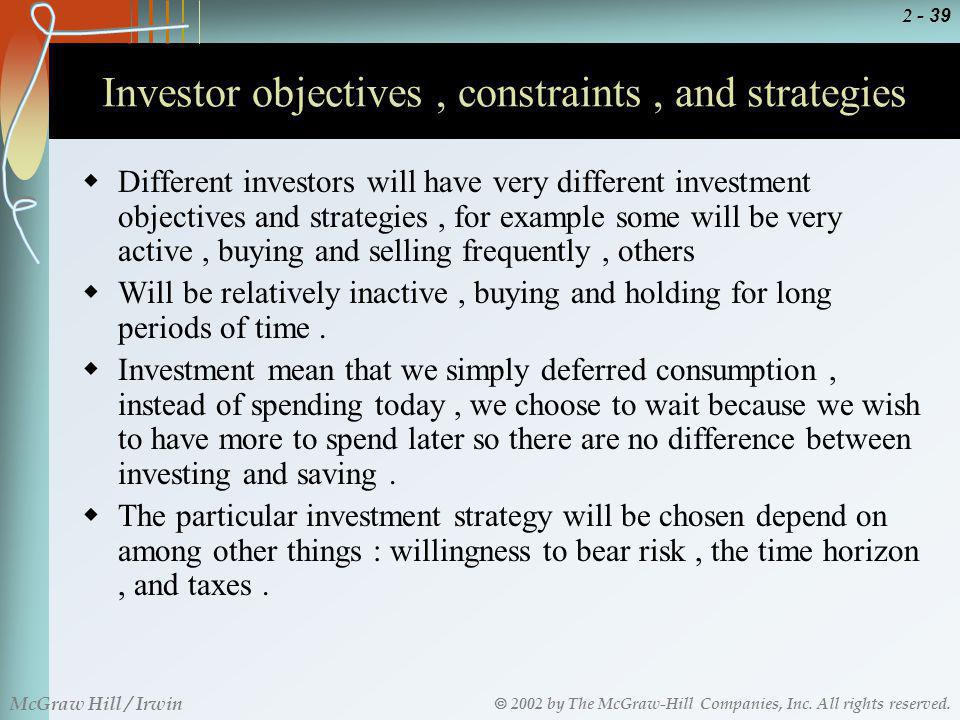 Investor objectives , constraints , and strategies