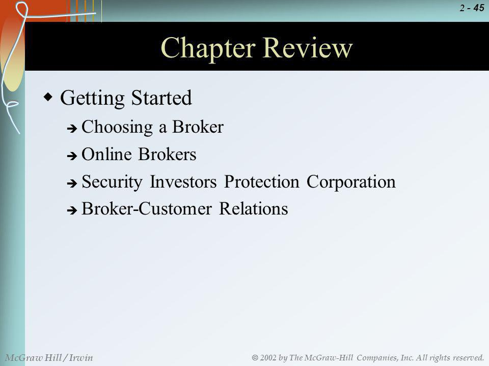 Chapter Review Getting Started Choosing a Broker Online Brokers