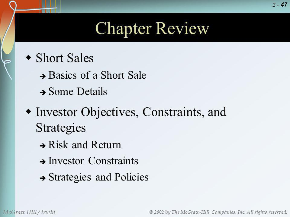 Chapter Review Short Sales