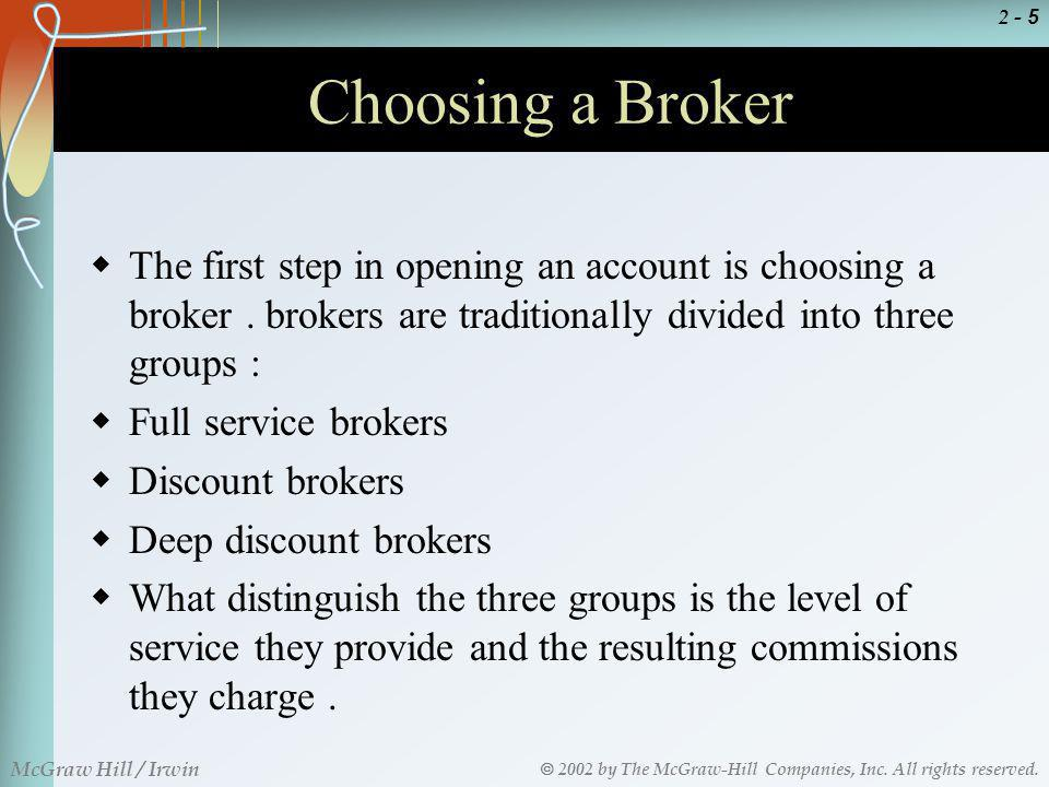 Choosing a Broker The first step in opening an account is choosing a broker . brokers are traditionally divided into three groups :