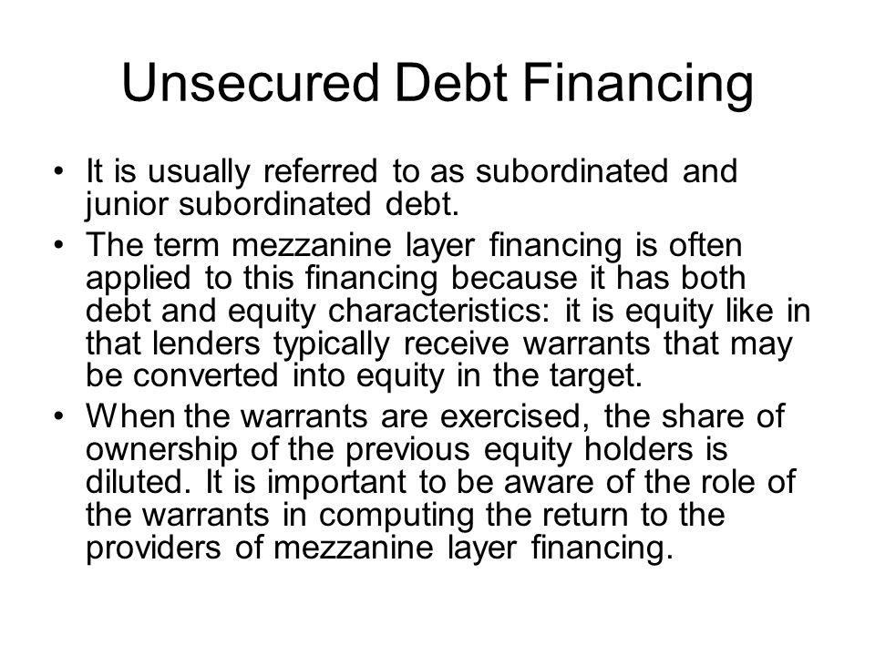 Unsecured Debt Financing