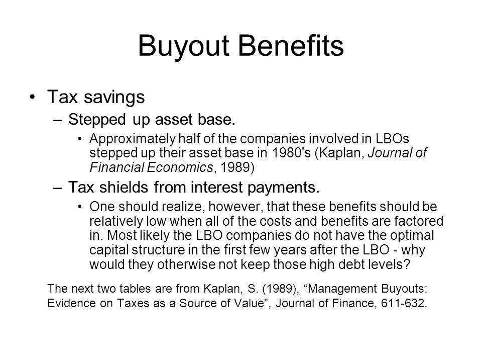 Buyout Benefits Tax savings