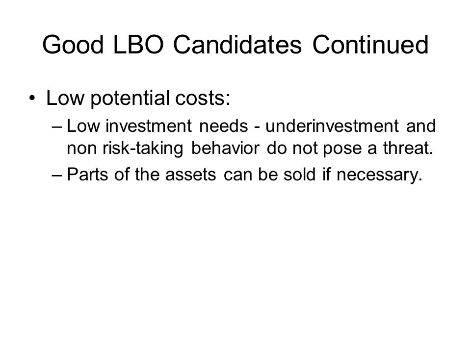 Good LBO Candidates Continued