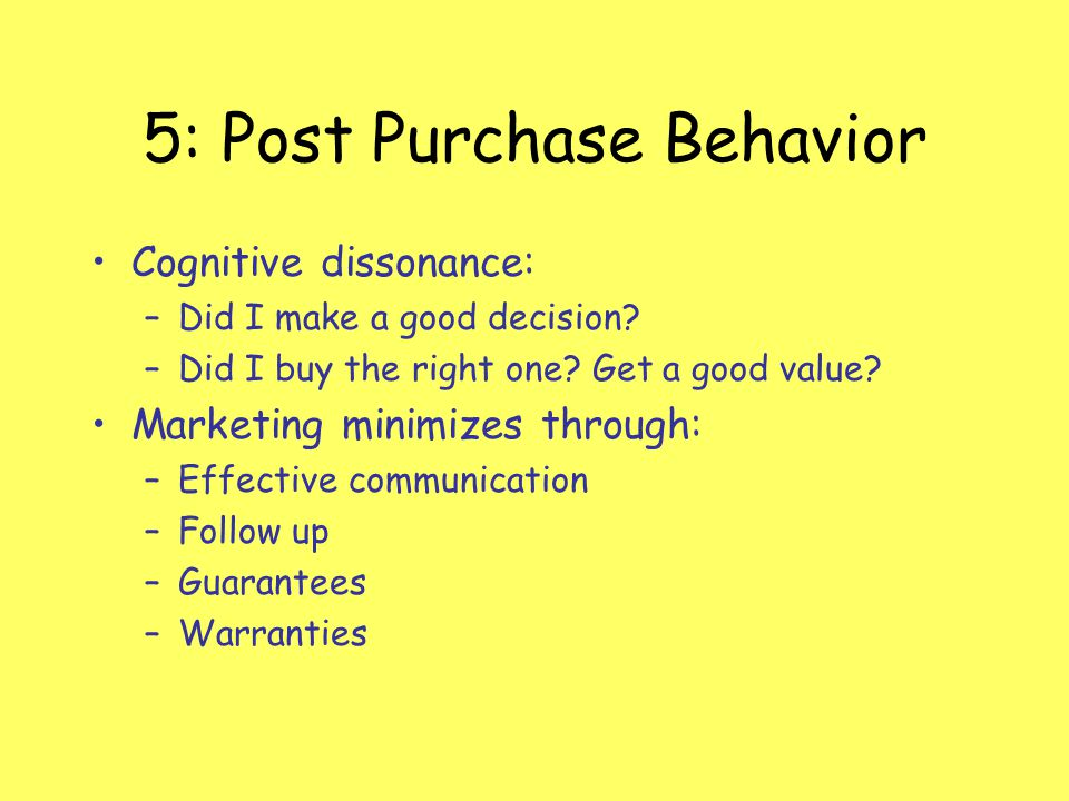 5: Post Purchase Behavior