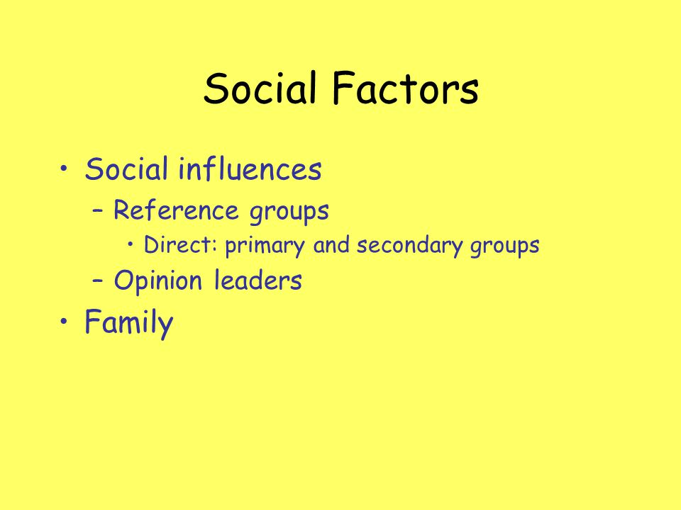 Social Factors Social influences Family Reference groups