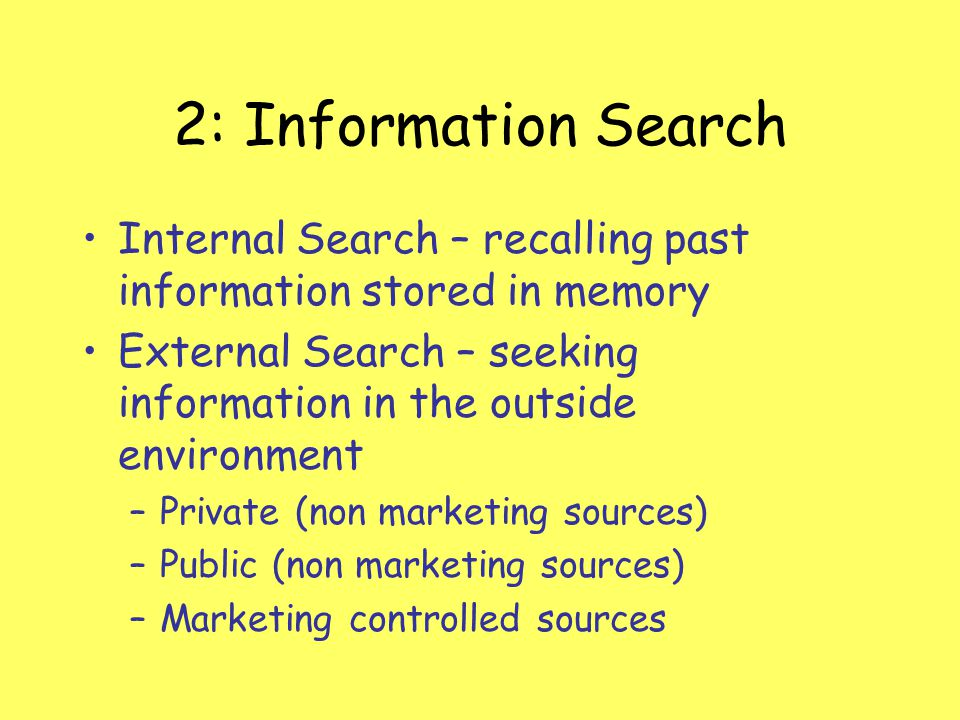 2: Information Search Internal Search – recalling past information stored in memory.