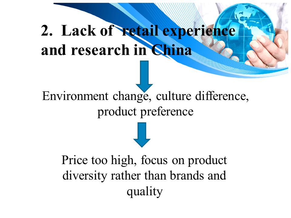 2. Lack of retail experience and research in China