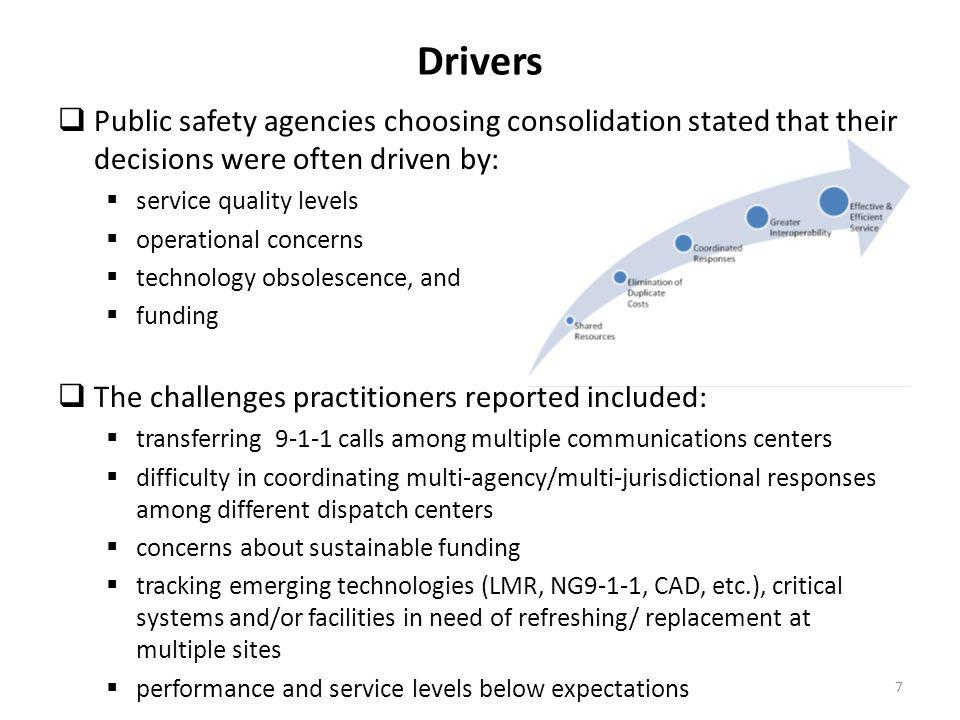 Drivers Public safety agencies choosing consolidation stated that their decisions were often driven by: