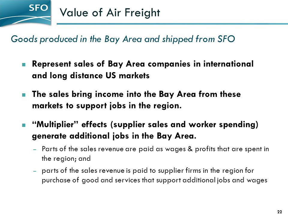 Value of Air Freight Goods produced in the Bay Area and shipped from SFO.