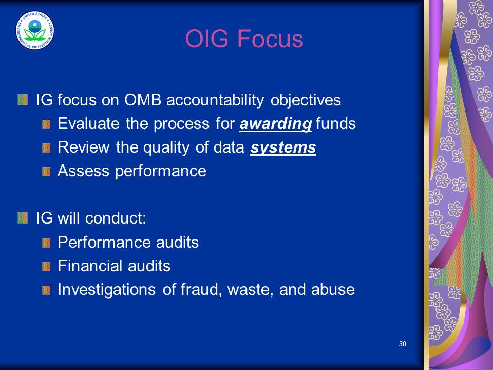 Types of OIG Reviews Forensic Audits Performance Audits