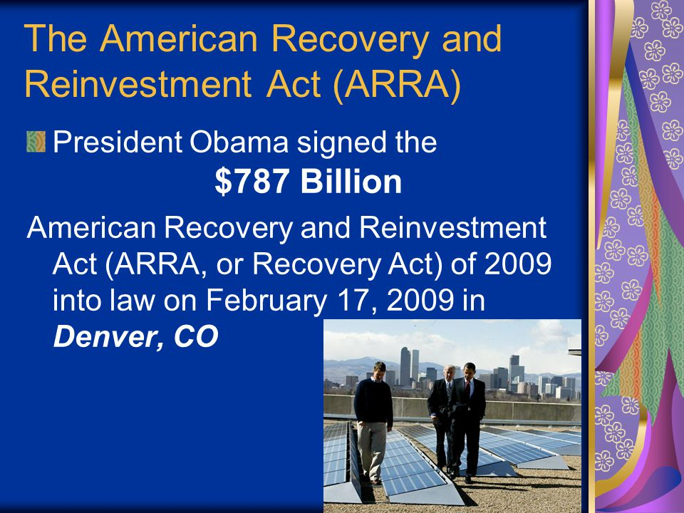 The Recovery Act's 3 Goals
