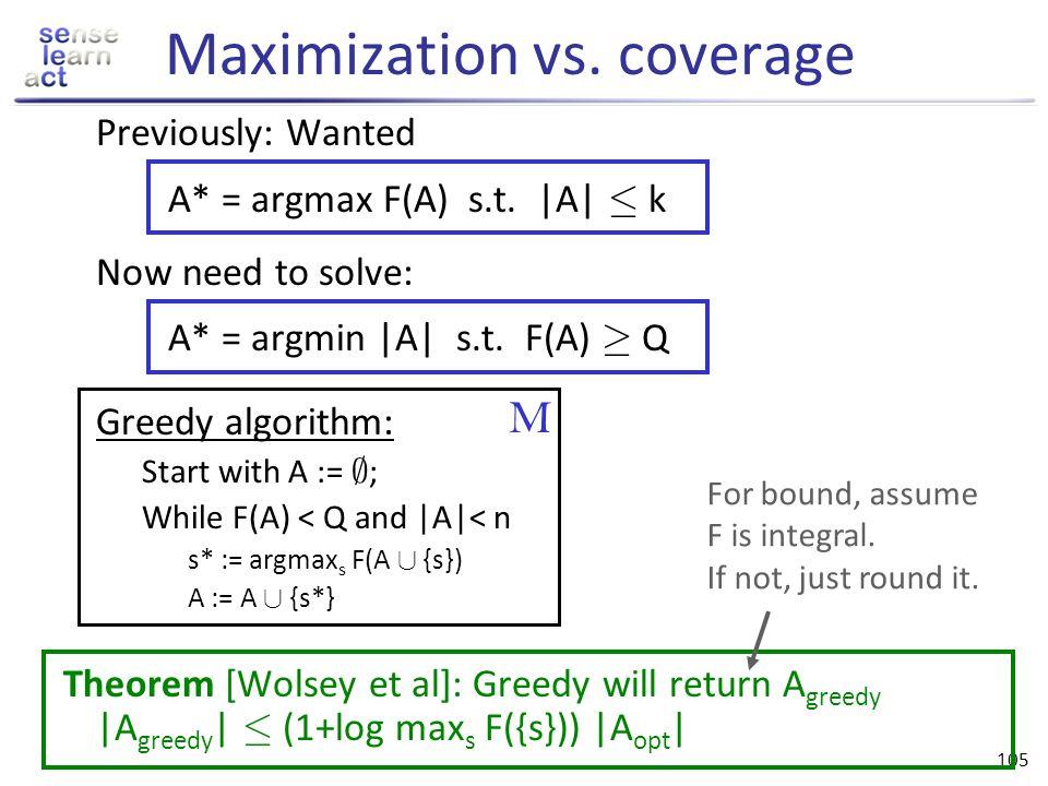 Maximization vs. coverage