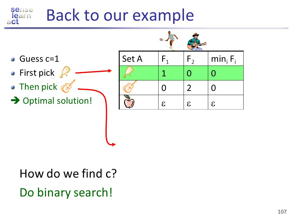 Back to our example Do binary search! Guess c=1 First pick Then pick