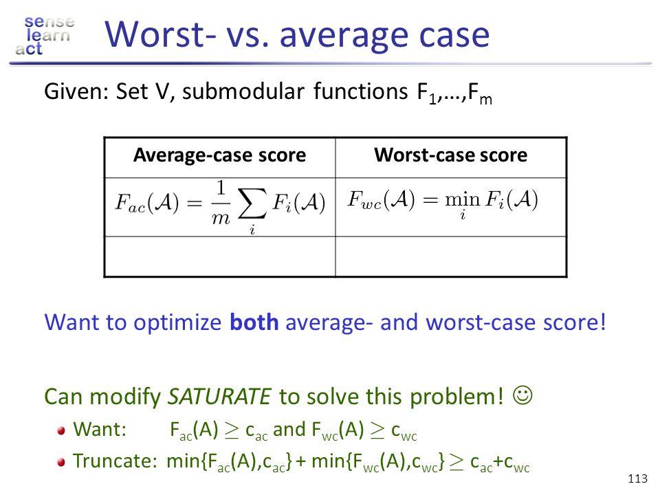 Worst- vs. average case Given: Set V, submodular functions F1,…,Fm