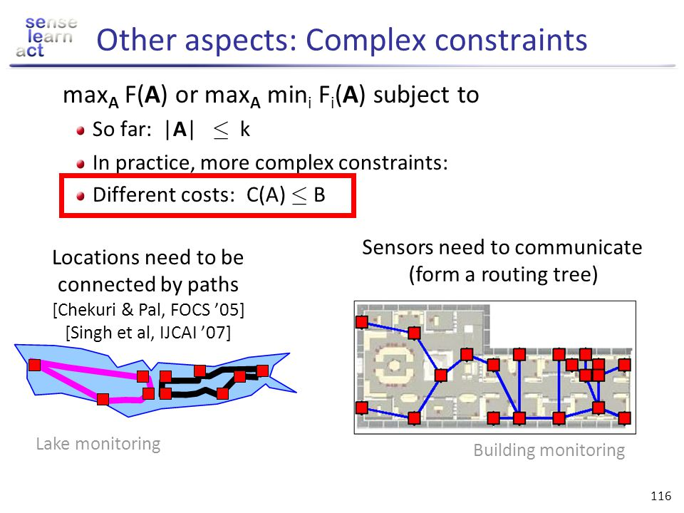 Other aspects: Complex constraints