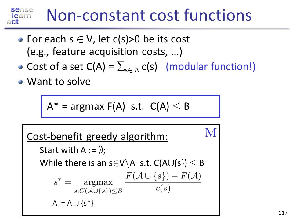 Non-constant cost functions