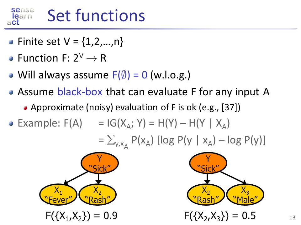 Set functions Finite set V = {1,2,…,n} Function F: 2V ! R
