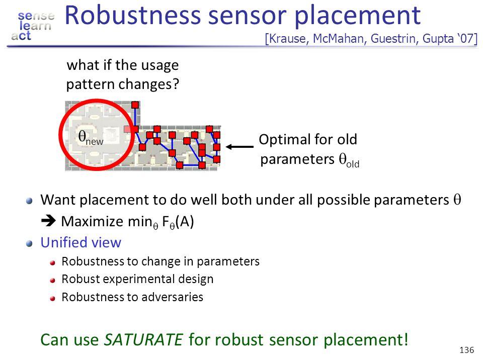 Robustness sensor placement