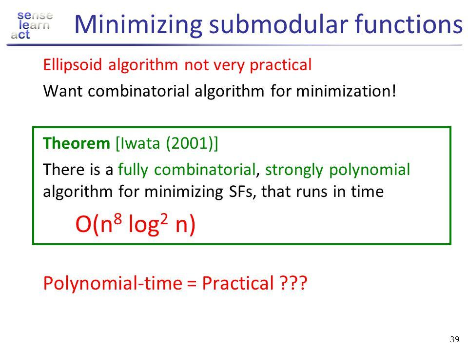 Minimizing submodular functions