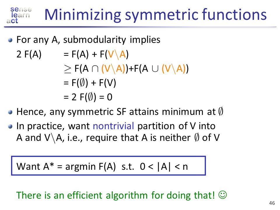 Minimizing symmetric functions
